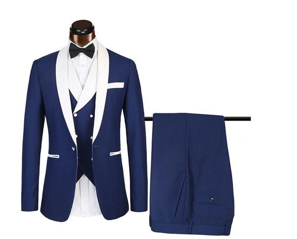 Popular Navy Blue/Red Groom Tuxedos White Lapel Groomsmen Mens Wedding Dress Fashion Man Jacket Blazer 3 Piece Suit(Jacket+Pants+Vest+Tie)26