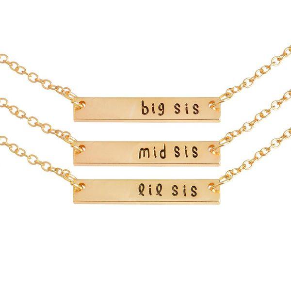Gros- 3pcs / set grande sis mi sis lil sis étiquette pendentif collier BFF chaîne simple cadeau spécial pour mère fille amis de la famille bijoux