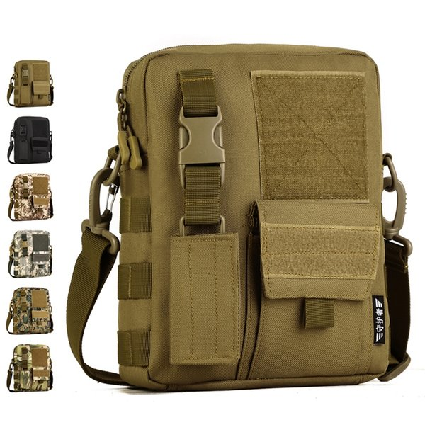 Men Camo Waterproof Vertical Messenger Bag Army Fans Tactical Shoulder Bag Outdoor Travel Commuter Package Extend Molle K316 #108660
