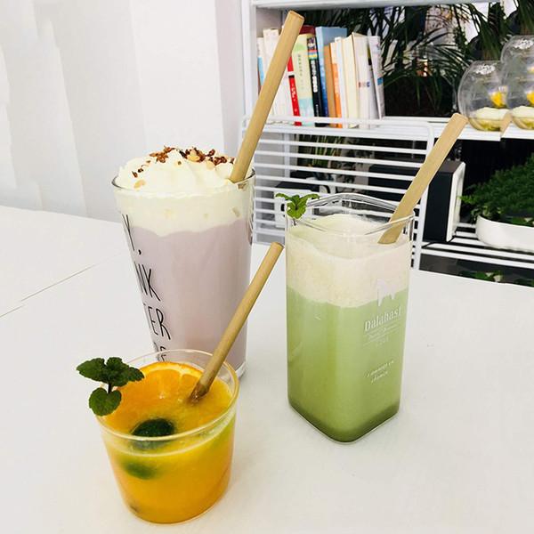 12 teile / satz Bambus Trinkhalme Wiederverwendbare Umweltfreundliche Party Küche + Sauber Pinsel für Trinkwerkzeuge Großhandel Bambus Stroh Set VT1724