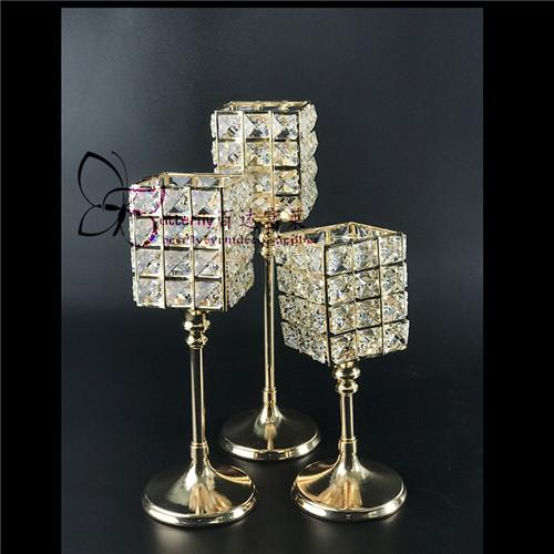 Crystal Votive Tealight Candle Holders Gold Square Crystal Cylinder Candle Holders Wedding Table Centerpieces -3pcs of one set