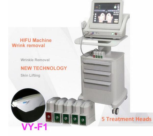Medizinischer Grad HIFU hoher Intensität fokussierter Ultraschall Hifu Facelift-Maschinen-Falten-Abbau mit 5 Köpfen für Gesicht und Körper