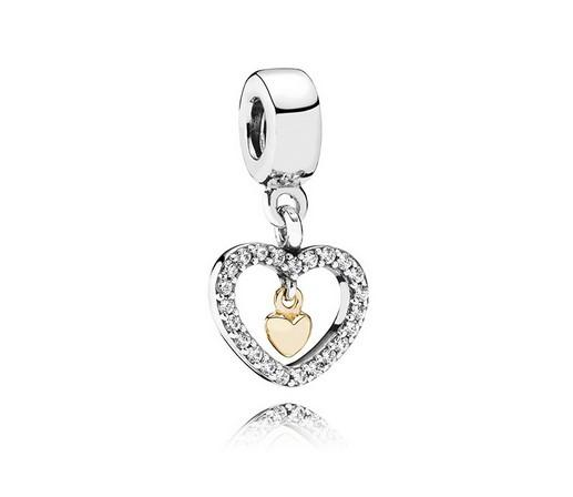 Fits Pandora Bracelets 30pcs Hollow Crystal Heart Silver Charms Bead Dangle Charm Beads For Wholesale Diy European Sterling Necklace Jewelry