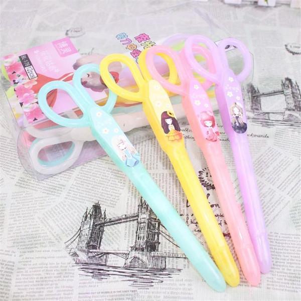 -Beautiful Girl Creative Stationery Korean Gel Pens Small Scissors Kawaii Writing Pen Office School Supplies Caneta Papelaria