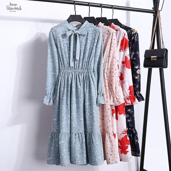 Elbise İlkbahar Ve Sonbahar Ekose Elastik Bel A Kelime Bayan Uzun kollu şifon Baskı Elbise İnce Feminino V Yaka 24Color