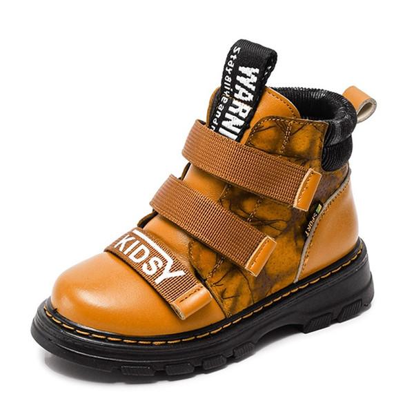 Garçons Véritable Bottes en cuir Bottes enfants Bottes automne bébé garçons pour enfants chauds imperméables Chaussures Filles Mode Martin EUR 26-36