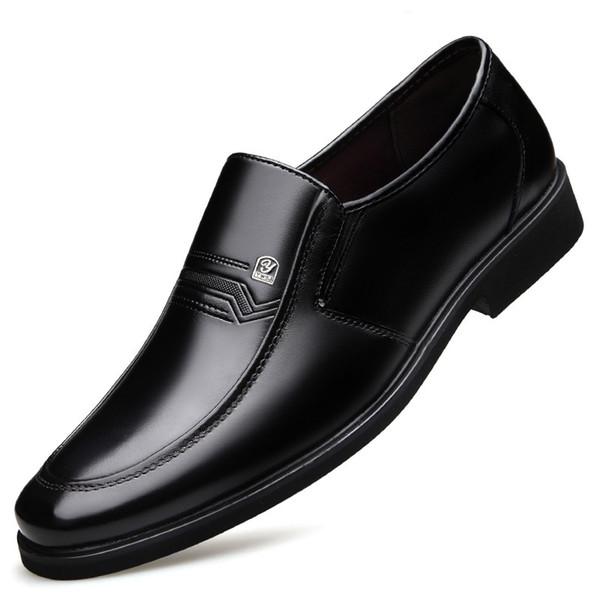 2019 New Design Fashion Black Split Leather Man Dress Shoes Fashion Slip On Men Formal Party Wedding Comfortable Shoes DA001