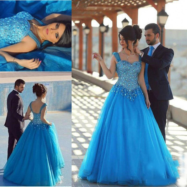 Arabic Ice Blue Prom Dresses Major Beading Sweetheart Crystals Tulle Girls Pageant Dresses For Teens Floor Length Zipper Back Evening Gowns
