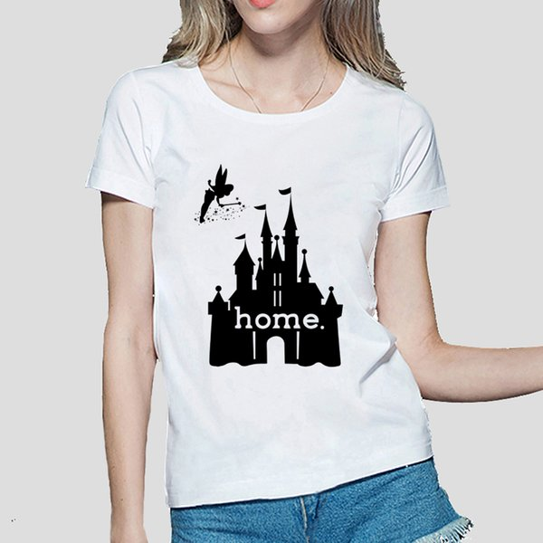 Women's Tee Pretty Castle Graphics Print It Is My Home Women Casual Cartoon T Shirt Funny Slim Shirts Female Fashion Tee Brand Punk Clothing