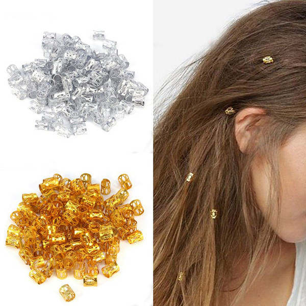 100Pcs/pack Hair Decor Extension Braids Cuff Hole Dreadlocks Dread Beads Rings Clips Pins Adjustable Tube Set