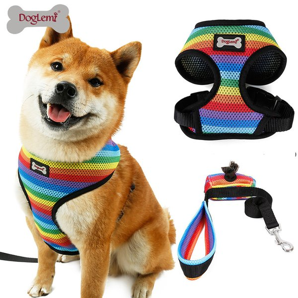 dog leash Pet adjustable Cat dog leash long Medium and large Pet breathable traction chest strap Rainbow chest strap W725