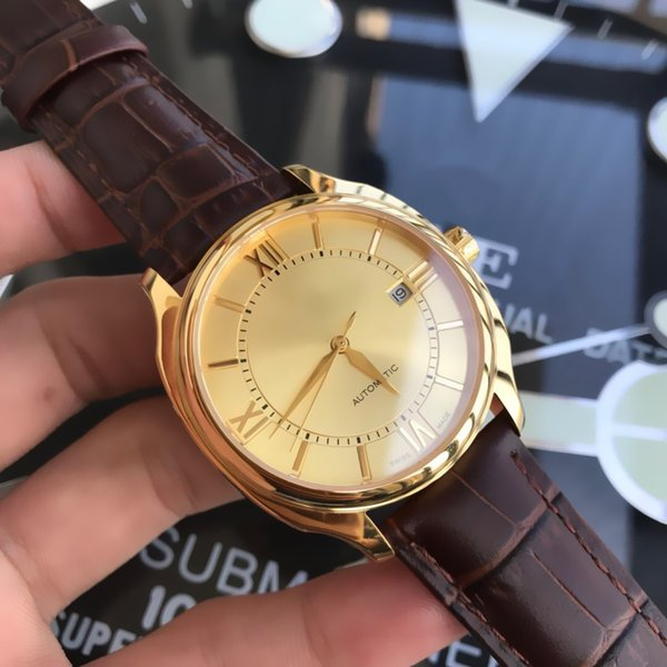 40mm Mens Wristwatch Import Mechanical Auto Mov Sapphhire Glass Genuine Leather Strap 316L Stainless Steel Case Luxury Top Quality Watches
