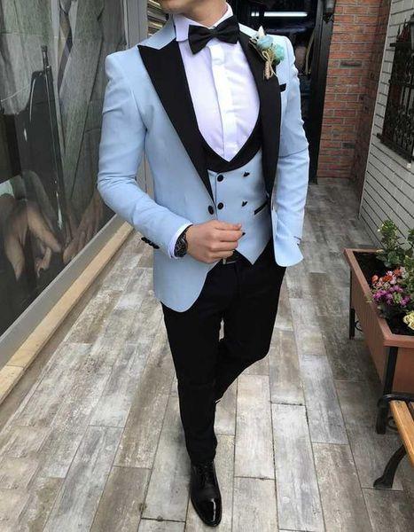 Light Blue Scacchi Smoking dello sposo Taglio elegante Vest Fit Suit Smoking da sposa Abiti da uomo per la cerimonia nuziale Risvolto Risvolto Groomsmen Suit Jacket Vest Pants