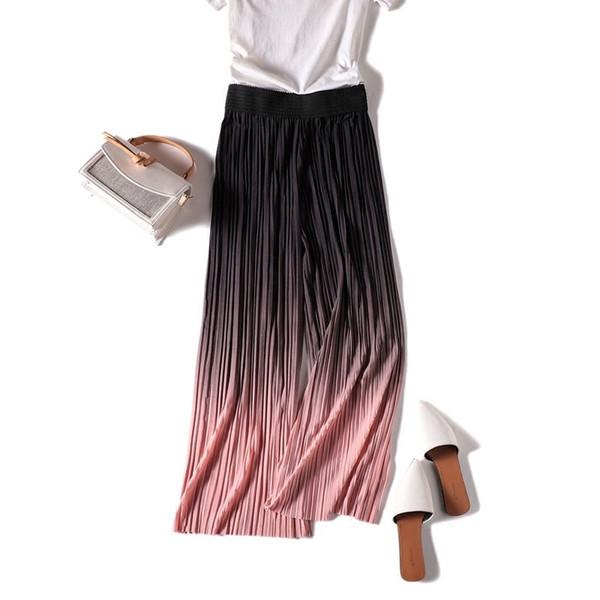2018 Summer Casual Gradient Thin Chiffon Wide Leg Pants Women Elastic Waist Pleated Trousers Sweet Beach Female Leggings Mw361 Y19070301