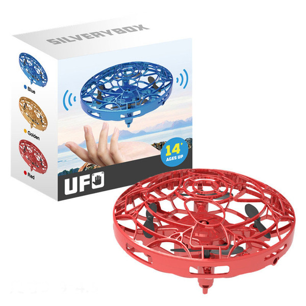 top popular UFO Gesture Induction Suspension Aircraft Smart Flying Saucer With LED Lights Creative Toy Entertainment RC Aircraft 9cm L477 2021