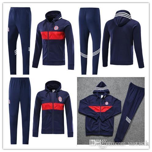 2019 2020 Bayern Monaco con cappuccio Kit rivestimento 19 20 James Muller Calcio a maniche lunghe tuta Mens Bayern incappucciato Formazione Abiti sportivi