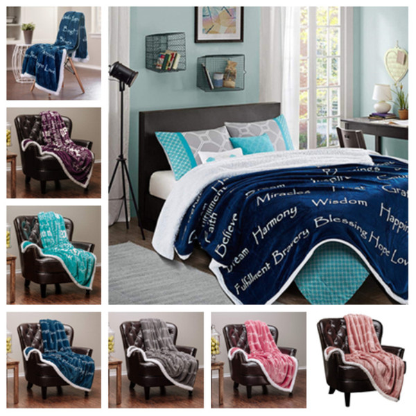 best selling new Flannel Blankets 3D Printing Carpet Square plush Blanket Letter Printed Sherpa Fleece Wearable Throw Blankets T2I5217