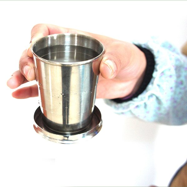 top popular HOT New Stainless Steel Portable Folding Collapsible Outdoor Travel Cup Mug Keychain Hiking HV99 2019