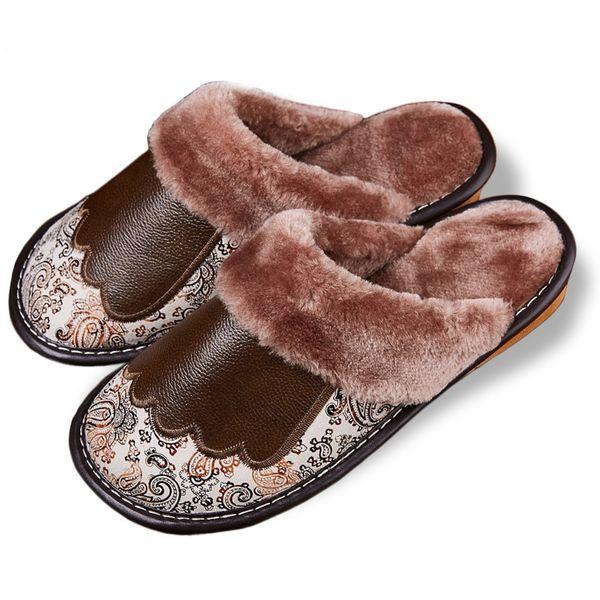 New Indoor Home Slippers Soft Bottom Genuine Leather Slippers Women Wood Floor Non Slip Warm Plush Cotton Men Slippers