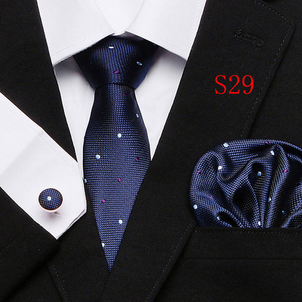 New Polyester Silk Classic Men Neck Ties Clip Hanky Cufflinks sets Floral brand Formal Wear Business Wedding Party Mens Tie 28