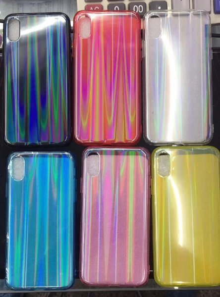 Transparent Laser Rainbow Shiny Sparking Bling Felxible Soft TPU Bumper Hard PC Back Case Slim Cover For iPhone xs max xr x 8 7 6s 6 plus
