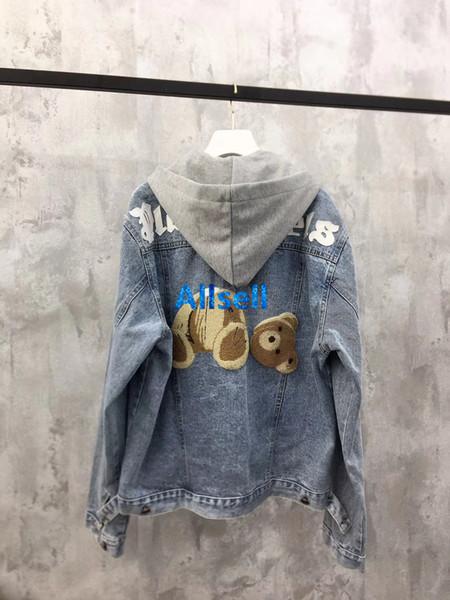 haut de gamme femmes filles lettre à capuche veste bombardier en denim oversize imprimé patch ours long manteau manches mode conception vêtements de plein air sweat-shirts tops