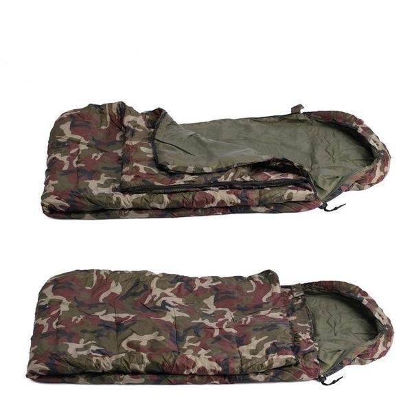 200 * 60 cm Uyku Tulumu Zarf Tarzı Uyku Tulumu Kamuflaj Mat Yastık Şapka Açık Eğlence Kamp Molası Uyku Tulumları