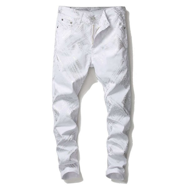 Brand Designer 100% cotton Elasticity White 3D Color Printing Jeans For Men Fashion Printed Denim Pants Punk Style Men Zipper Robin Jeans