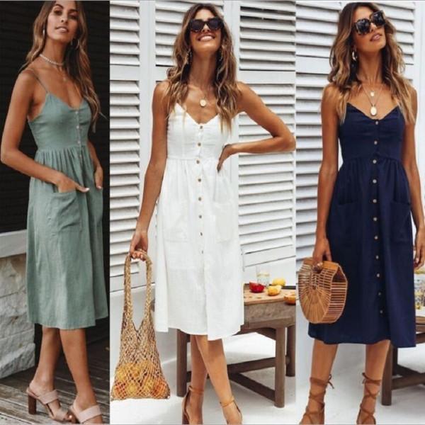 Sexy Ladies Bow Backless vestido de playa de verano de algodón de las mujeres con cuello en V profundo bolsillos de hombro Midi vestidos de diseñador ropa