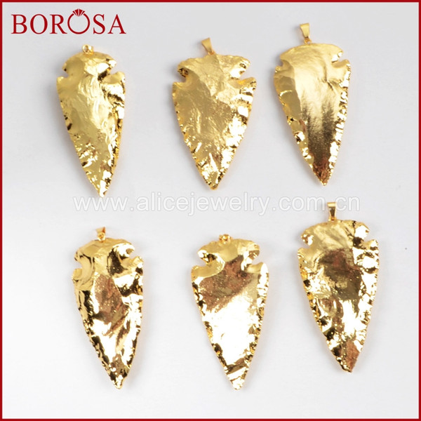 wholesale Clearance Sale 5/10PCS Arrowhead Full Gold Color Natural Jas-per Gems Pendant Beads Jewelry Natural Stone Pendants G0506