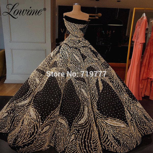 Puffy Sparkly Glitter Evening Dress Couture Luxury Prom Dresses 2019 Newest Abendkleider Kaftans Moroccan Celebrity Party Gowns