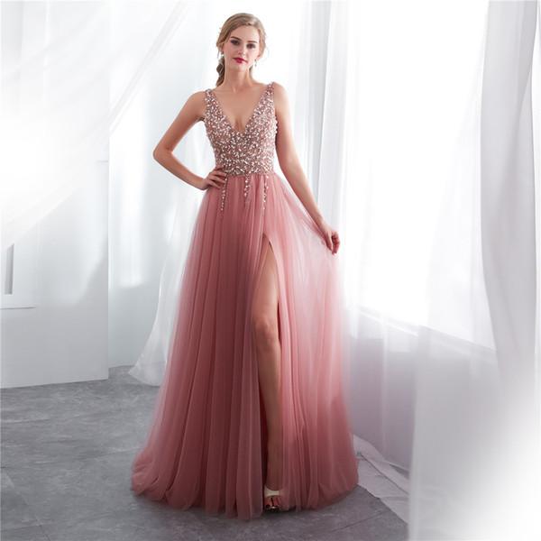 Compre Dusty Pink Una Línea De Vestidos De Fiesta Largos 2019 Sexy Cuello En V Rebordear Top Falda De Tul Corsé Volver Adolescentes Vestidos De Noche