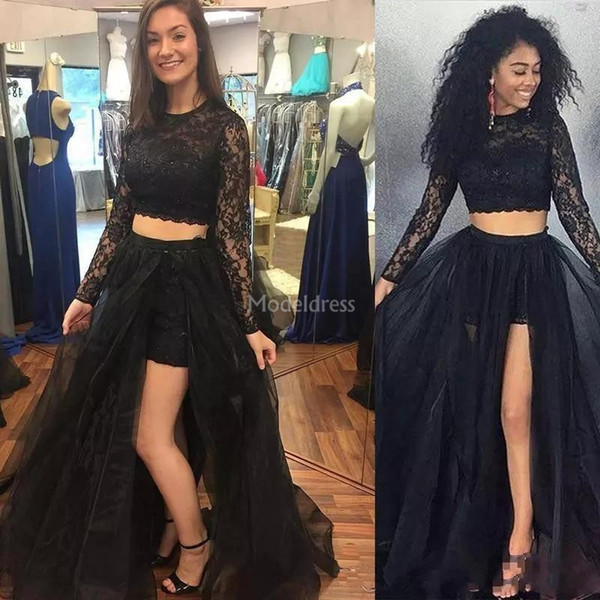 Stylish Lace Two Pieces Prom Dresses High Side Split Illusion Long Sleeves Sweep Train Formal Party Evening Gowns Elegant Vestidos De Fiesta