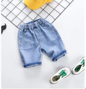 Abbigliamento casual per bambini Pantaloni casual da estate Tasche 2019 Marchio di colore solido per bambini Jeans Jeans Pantaloni larghi in vita elasticizzati con pacchetto Fashion