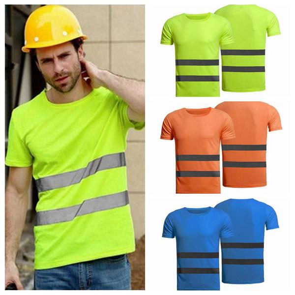 Trabalhador High Visibility Safety roupa do verão respirável Mens Mulheres Trabalho T-shirt Ar Livre equitação Reflective T-shirt ZZA1246 20PCS