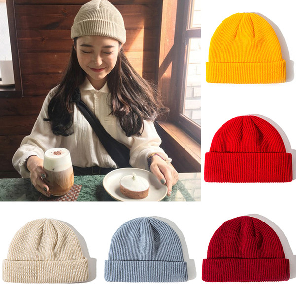 1PC Unisex Мужчины Женщины Beanie Hat Теплый ребристые зима Turn Горнолыжная рыболова Docker Hat