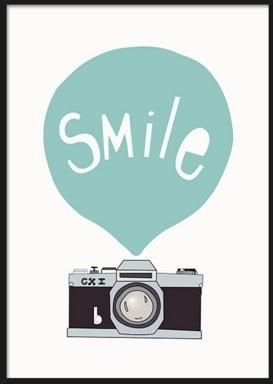 Siyah Beyaz İskandinav Minimalist Hayvan Mavi Gülümseme Tuval Sanat Baski Poster Baskı Duvar Resim Boyama Ev Çocuk Odası Deko ...