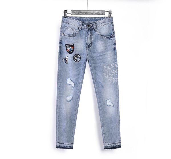 19 мужские джинсы летние горячие взрывы высокого класса брюки корейской моды красивый мужчина 531 8021