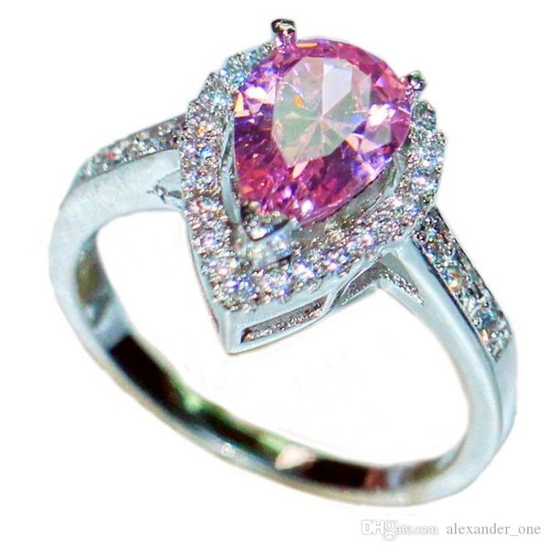 Luxurious Delicate Pink Pear-Shaped Simulated Diamond CZ gemstone Rings Finger Fashion 925 Sterling Silver Wedding Bride Jewelry For Women