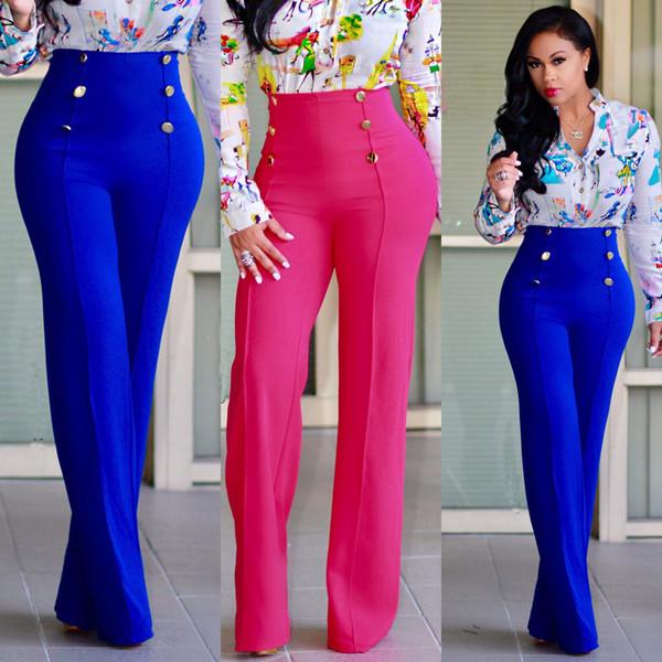 Mesdames Mode Femmes Taille haute Flare jambe large Long Pantalon Décontracté Pantalon Palazzo