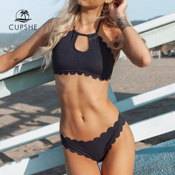 2c39195fbd5 CUPSHE Dark Blue Halter Bikini Set Women Cutout Backless Crop Top Two  Pieces Swimwear 2019 Girl