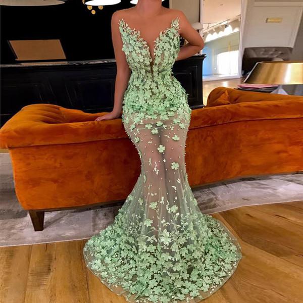 Mint Green Muslim Evening Dresses 2020 Mermaid Tulle Flower Pearls See Through illusion Dubai Saudi Arabic Long Prom Gowns Robe De Soiree