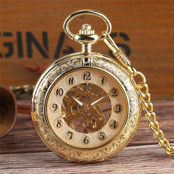 Antique lusso classico d'oro Mano-bobina di tasca meccanica di scheletro delle donne degli uomini della manopola della vigilanza Orologi catena pendente Orologio Reloj de bolsillo