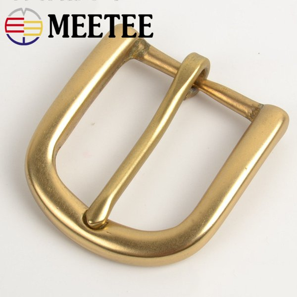 Meetee 30mm Width Pure Brass Belt Buckle for Men Ladies Belt Pin Buckle Head DIY Leather Craft Jean Clothing Accessories AP181