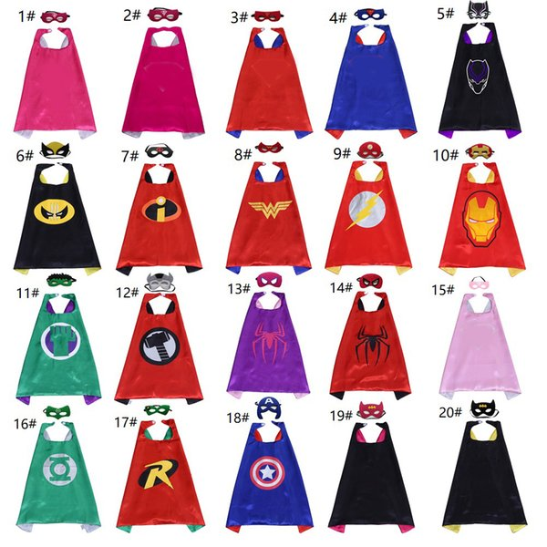 20 styles 2-layer Superhero Cape Mask Set for Kids Cartoon Superhero Movie Costumes Child Cosplay Halloween Costumes Party Favors