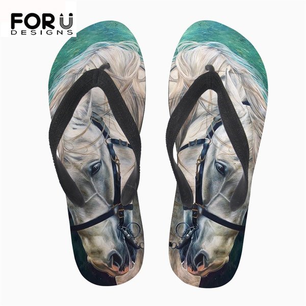 FORUDESIGNS Crazy Horse Brand Women's Flip Flops Summer Light Weight Rubber Home Slippers for Teenage Girls Flats Beach Sandals