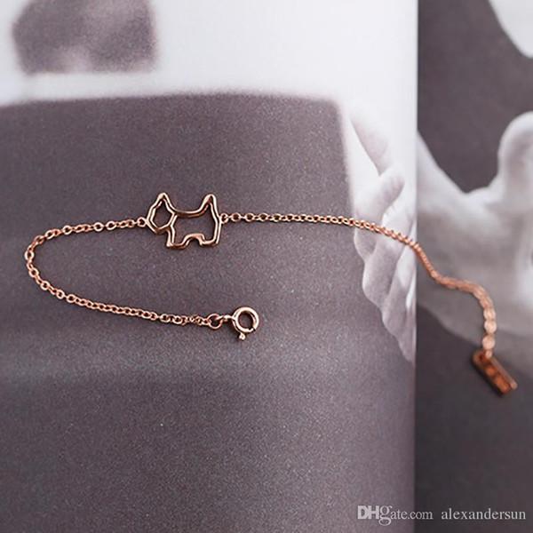 c828242142f8a 2019 Nouveau design en argent Sterling 925 Or Rose Chien forme pendentif  collier femmes bijoux avec