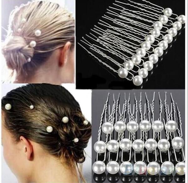 Frauen Weiße Perle Haarnadeln Clips Haarschmuck Hochzeit Braut Haarspange Haarnadeln Zubehör Haar Styling Werkzeuge QQA379
