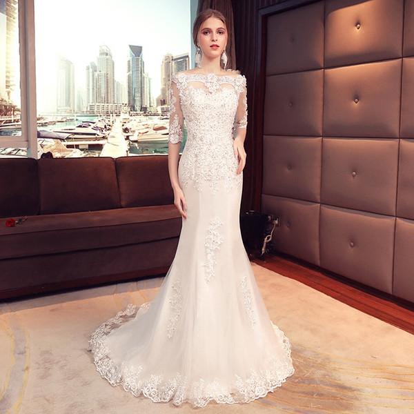 Свадебное платье 2019 весной новой корейской версии была тонкая юбка невесты рыбий хвост маленький висячий элегантный тонкий женский