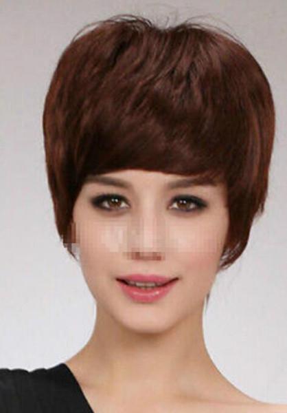 PERUK LL 003316 Mesleki Kadınlar Açık Kahverengi Kısa Seksi Saç Peruk cosplay Sıcaklık Isıya Dayanıklı Saç Peruk
